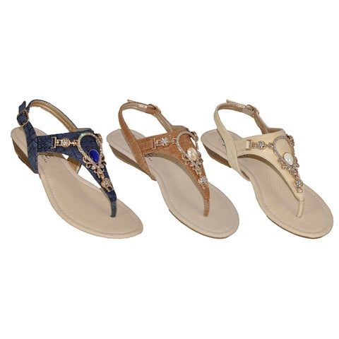 Womens Thong Sandals Rhinestones and Jewel with Heel Strap