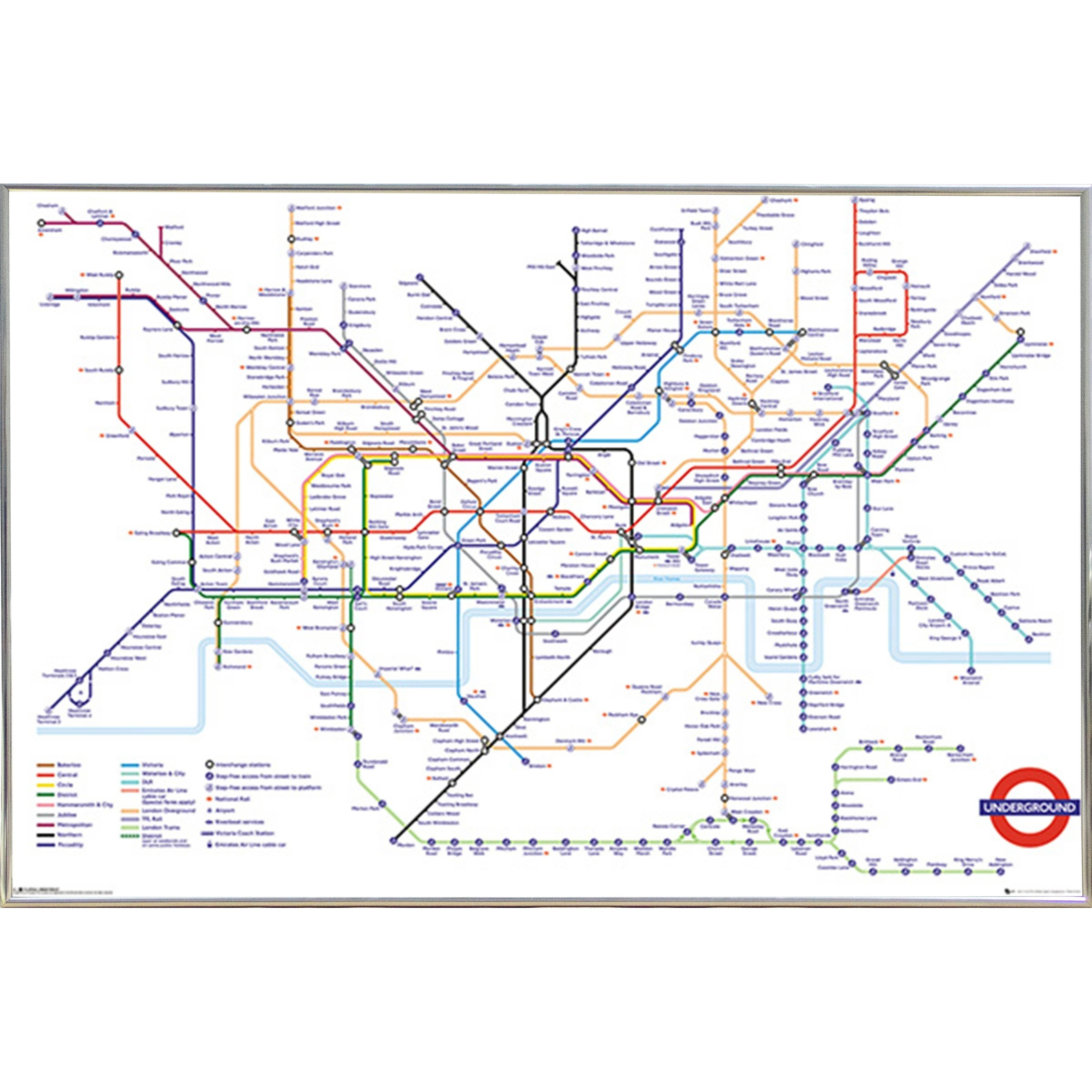 Transport For London Map.Transport For London Underground Poster With Choice Of Frame 24x36