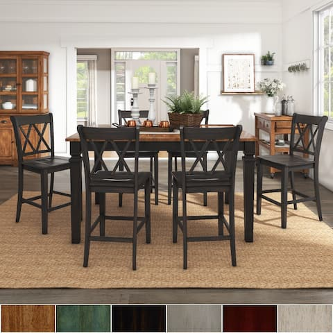 Elena Extendable Counter Height Dining Set with Double X Back Chairs by iNSPIRE Q Classic