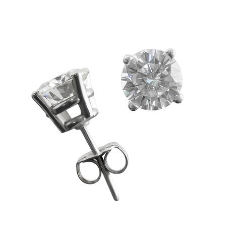 TwoBirch Lab Grown Diamond Stud Earrings (1/2 CT TWT to 2 CT Twt) in 14k White Gold H-I Color & I1-I2 Clarity - White H-I