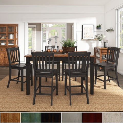 Elena Antique Black Extendable Counter Height Dining Set with Slat Back Chairs by iNSPIRE Q Classic