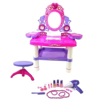 Battery Operated Princess Toy Vanity Mirror Dresser Playset