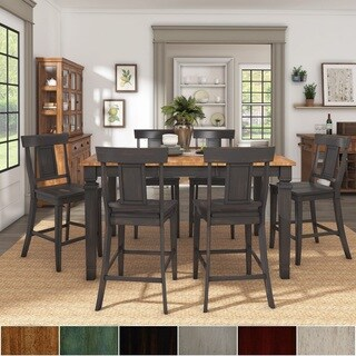 Elena Antique Black Extendable Counter Height Dining Set with Panel Back Chairs by iNSPIRE Q Classic