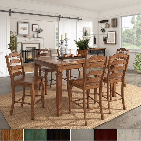 Enjoyable Elena Oak Finish Extendable Counter Height Dining Set With French Ladder Back Chairs By Inspire Q Classic Beutiful Home Inspiration Cosmmahrainfo