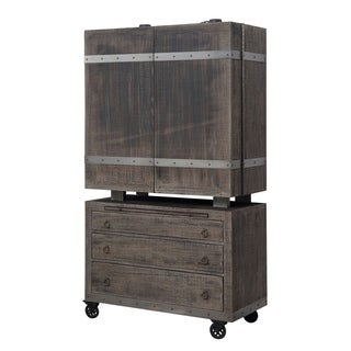 Emerald Home Dakota brown 3-drawer 2-door bar cart&cabinet D570-50