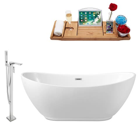 "Tub, Faucet and Tray Set Streamline 62"" Freestanding NH580-140"