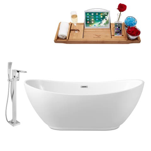 """Tub, Faucet and Tray Set Streamline 62"""" Freestanding NH580-100"""