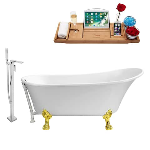 "Tub, Faucet and Tray Set Streamline 67"" Clawfoot NH340GLD-CH-140"