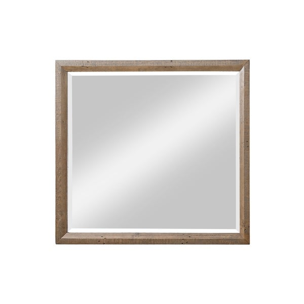 Carbon Loft Catlett Caramel Brown Mirror with Rustic Frame And Dresser Attachment
