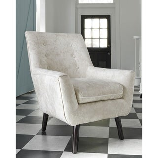 Zossen Contemporary Crushed Velvet Ivory Accent Chair