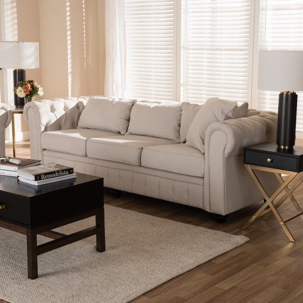 Modern Linen Chesterfield Sofa By Baxton Studio