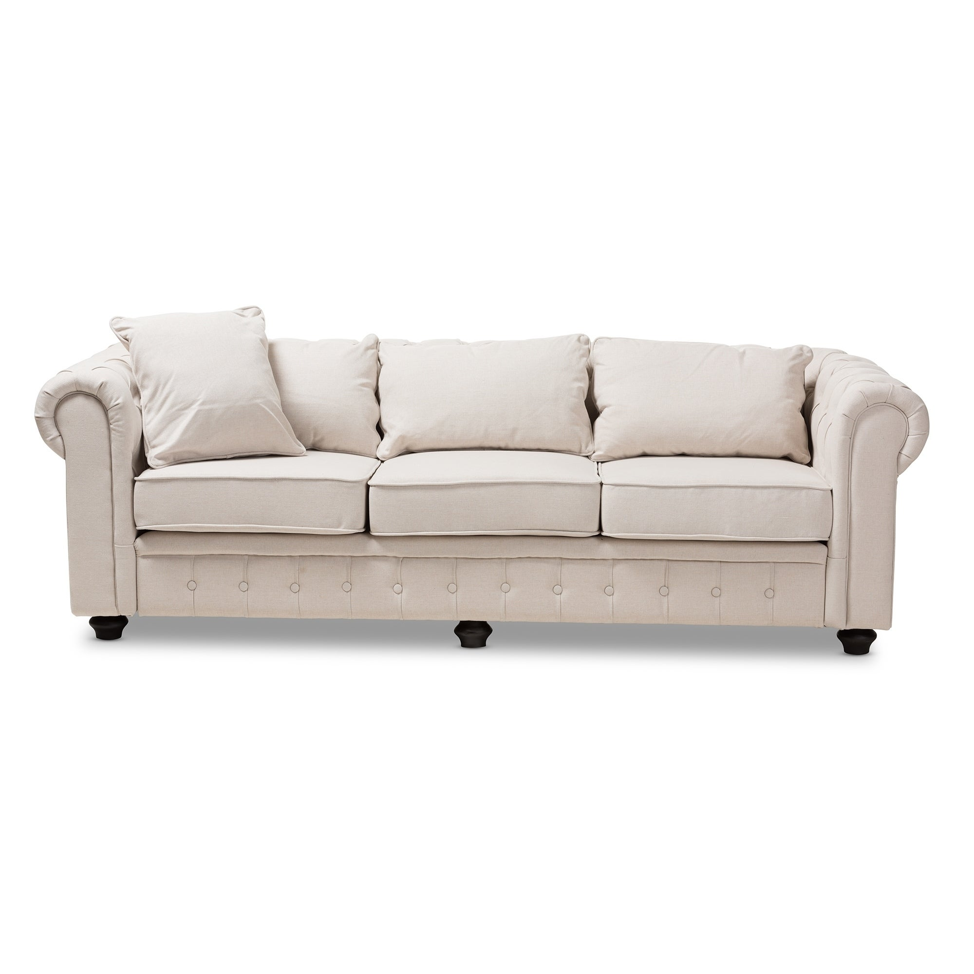 Modern Linen Chesterfield Sofa By Baxton Studio
