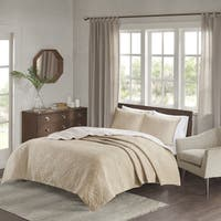 Madison Park Cambay Khaki Embroidered Reversible Quilted 3-piece Coverlet Set