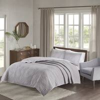 Madison Park Cambay Grey Embroidered Reversible Quilted 3-piece Coverlet Set