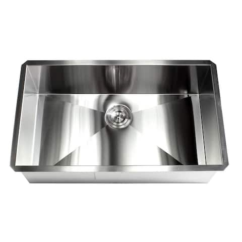 32-inch Stainless Steel 16 Gauge Single Bowl Undermount Zero Radius Kitchen Island Bar Sink