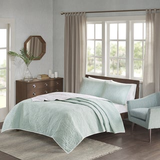 Madison Park Cambay Aqua Embroidered Reversible Quilted 3-piece Coverlet Set
