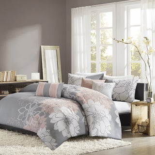 Madison Park Brianna Grey/ Blush Cotton Sateen Printed 6-piece Duvet Cover Set