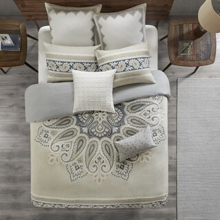 INK+IVY Sky Neutral Cotton Duvet Cover Set