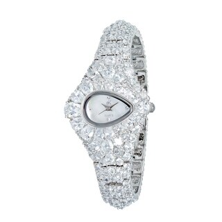 "Adee Kaye Womens ""Pear"" MOP & Crystal Accented Watch-Silver tone"