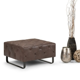 WYNDENHALL Natalia 34 inch Wide Contemporary Square Ottoman Bench in Distressed Cocoa Brown Faux Air Leather, Fully Assembled