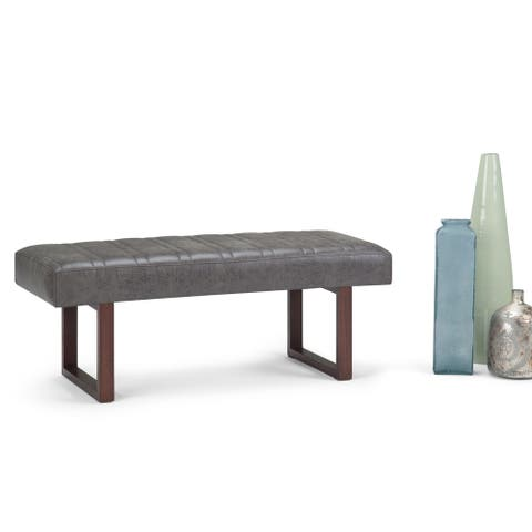 WYNDENHALL Lucielle 48 inch Wide Contemporary Modern Rectangle Ottoman Bench in Distressed Charcoal Faux Air Leather