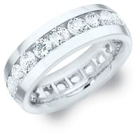 Amore 14K White Gold Men's 4CT TDW Channel Set Diamond Eternity Wedding Band