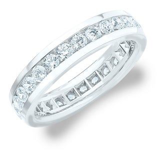 Amore 10K White Gold Men S 2CT TDW Channel Set Diamond Eternity Wedding Band