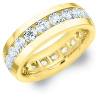 Amore 18K Yellow Gold Men's 4CT TDW Channel Set Diamond Eternity Wedding Band