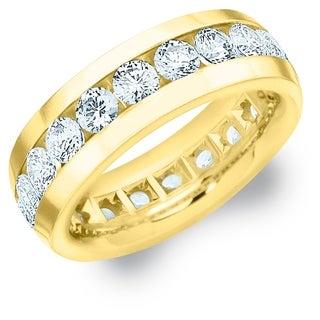Amore 18K Yellow Gold Men's 4CT TDW Channel Set Diamond Eternity Wedding Band