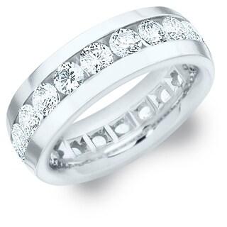Amore 18K White Gold Men's 4CT TDW Channel Set Diamond Eternity Wedding Band