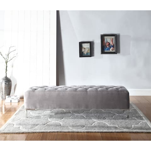 Silver Orchid Bech Silver Grey Upholstered Bench