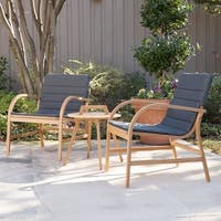 Harper Blvd Purley Natural Eucalyptus with Dark Gray Outdoor Chat Set