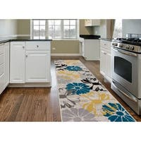 Contemporary Modern Large Floral Flowers Runner Rug Cream - 2' x 7'2""