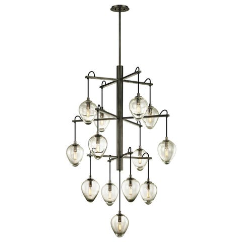 Brixton 13-light Gunmetal Pendant with Clear Glass