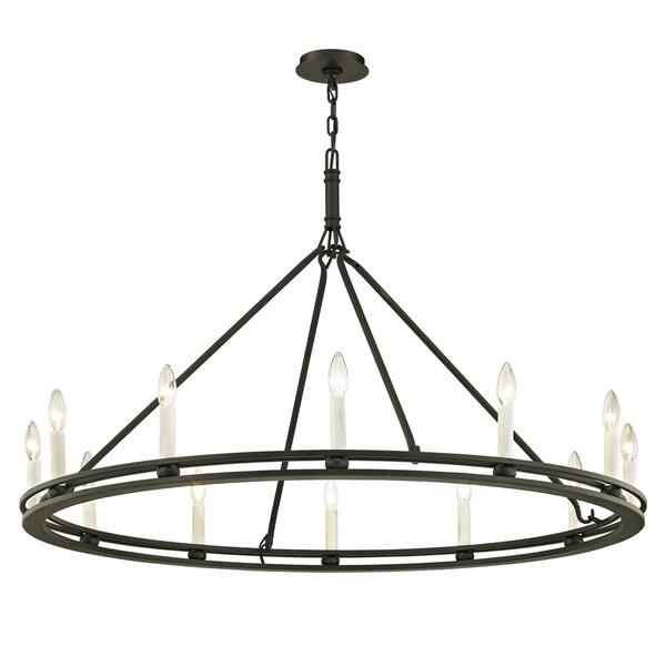 Troy Lighting Sutton 12-light Textured Black Chandelier