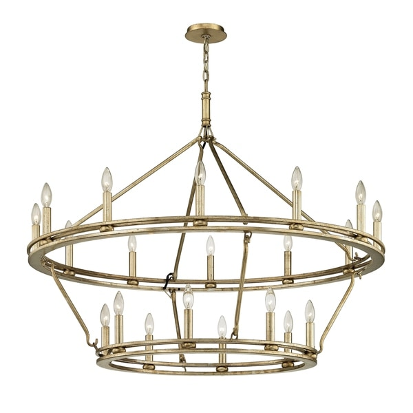 Troy Lighting Sutton 44-inch Champagne Silver Leaf Chandelier
