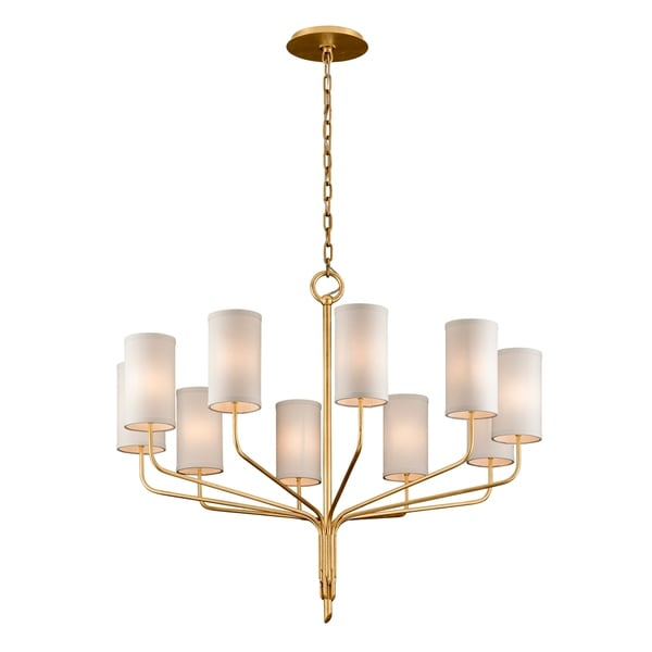Troy Lighting Juniper 10-light Textured Gold Leaf Chandelier