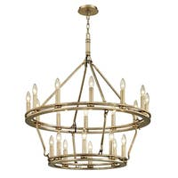 Troy Lighting Sutton 32-inch Champagne Silver Leaf Chandelier