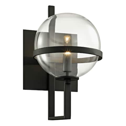 Elliot 1-light Textured Black Wall Sconce with Clear Glass