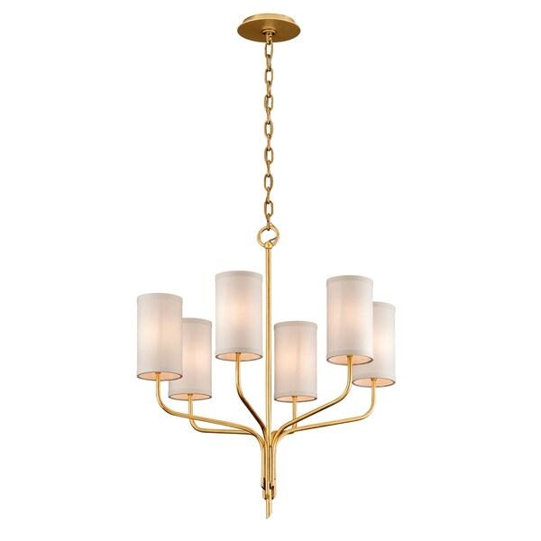 Troy Lighting Juniper 6-light Textured Gold Leaf Chandelier