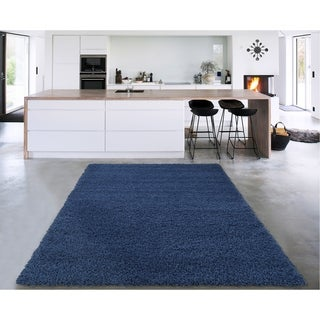 """Sweethome Stores Cozy Navy Solid Design Shag Area Rug (5'3"""" X 7') - 5'3"""" x 7'"""