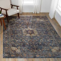 Traditional Blue Mosaic Medallion Rug - 7'10 x 10'
