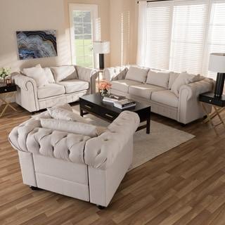 Modern Linen Chesterfield 3 Piece Living Room Set By Baxton Studio