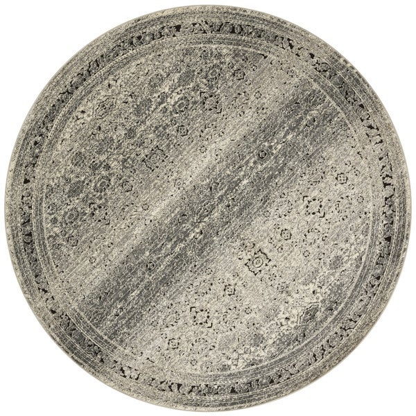Antique Inspired Vintage Grey/ Brown Distressed Round Rug - 7'7 x 7'7
