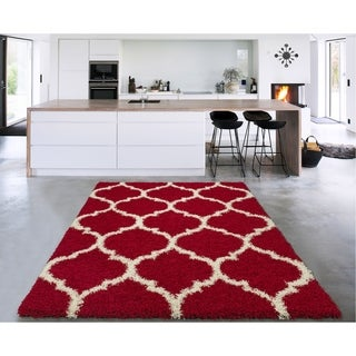 """Sweethome Stores Cozy Trellis Design Shag Area Rug (5'3"""" X 7') - 5'3"""" x 7' (4 options available)"""