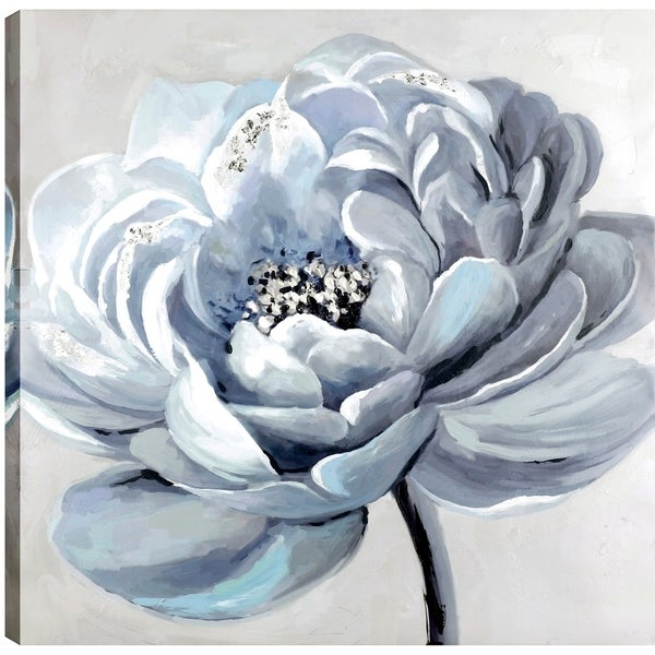 The White Flower, Floral Art, Fresh Canvas, Oil Paint, Wall Art Décor,  Gallery Wrapped 32X32 Ready to Hang, Artmaison ca