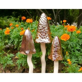 Glazed Ceramic Copper Tinkling Toadstools Decorative Garden Stakes (3-Piece Set) - see description