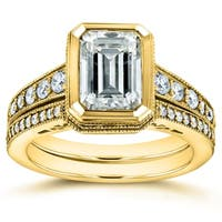 Annello by Kobelli 14k Gold 2 7/8ct TGW Bezel Emerald Cut Moissanite and Diamond Art Deco Bridal Rings Set