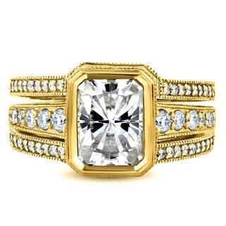 Annello By Kobelli 14k Gold 3 1 3ct TGW Bezel Radiant Cut Moissanite And Diamond Art Deco Bridal Rings 3 Piece Set