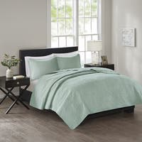 510 Design Estele Seafoam Solid Embossed 3-piece Coverlet Set